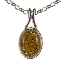 Gift Boxed Baltic Amber Sterling Silver 925 Oval Pendant Jewellery Jewelry