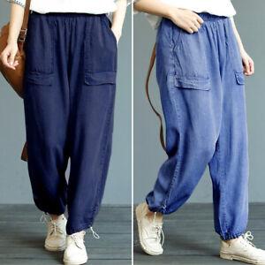 Oversize-Femme-Pantalon-en-Jean-Couleur-Unie-Loose-Taille-elastique-Loisir
