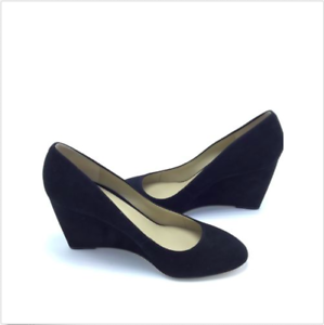8fa79fd2af1  138 Ann Taylor Black Molly Suede Wedges Pumps Sz 10M New 3.5   Heel ...