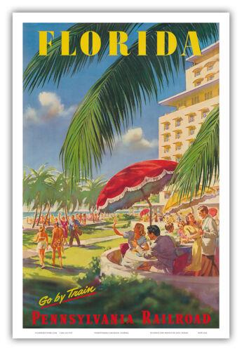 Florida Sunshine State Vintage Railway Travel Art Poster Print