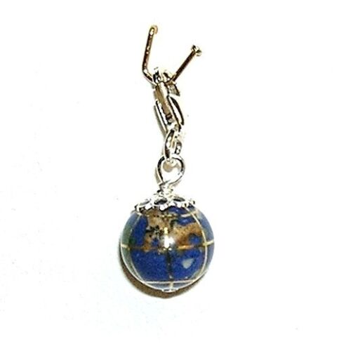 PENDANT CHARM SILVER 925 BALL OF THE WORLD 10mm Sea background Blue Lapilazuli