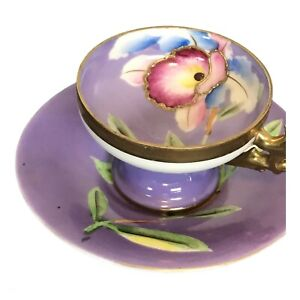 VINTAGE Gold Band Orchid Hand Painted Demitasse Cup and Saucer, Germany?