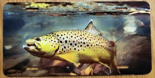 BROWN TROUT FISHING LURE Vehicle License Plate Auto Tag Aluminum