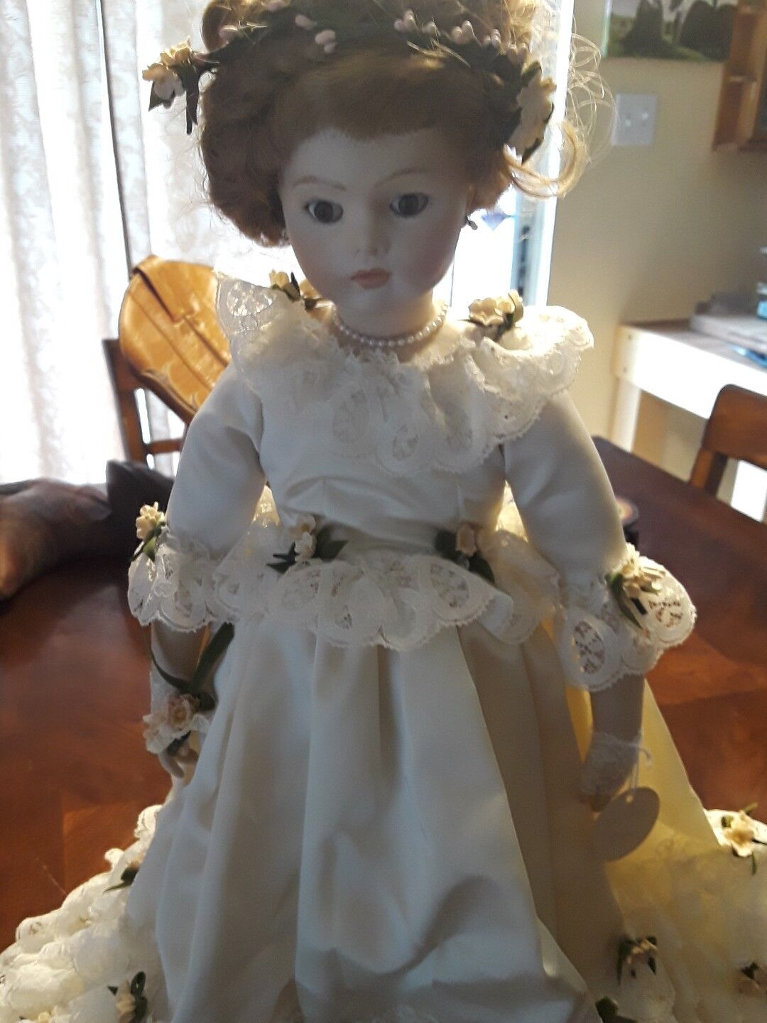 Bru Jne Reproduction Bride Doll Marked Priscilla 75 Rare Porcelain
