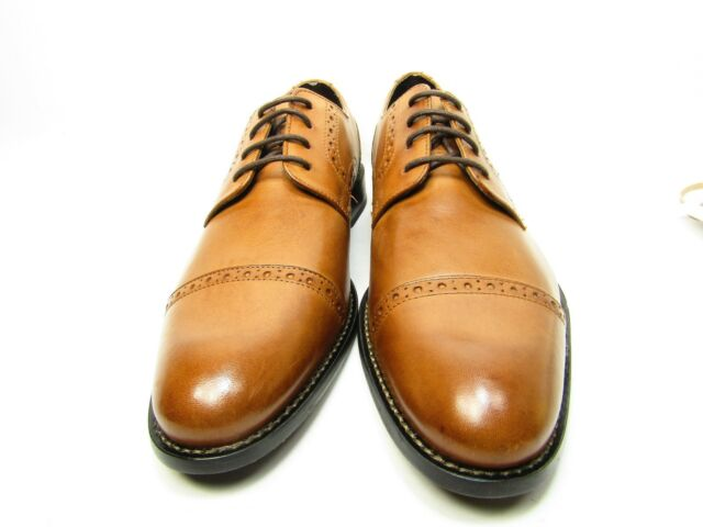 Stacy Adams Prescott   Lace up Leather Cap Toe Dressy Mens Shoes Tan Size 8M