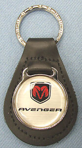 Silver Dodge AVENGER Leather Keyring 2007 2008 2009 2010 2011 2012 2013 2014