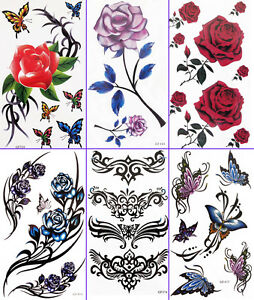 Temporary-Tattoo-sticker-lady-body-art-Party-butterfly-rose-sexy-Buy-2-get-1FREE