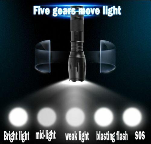 1-2Set Rechargeable Tactical Torch 990000LM Lamp T6 Aluminium LED Flashlight UK
