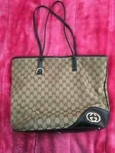 Auth-Gucci-Shoulder-Bag-Tote-GG-Canvas-Monogram-USED-Brown-Women-Purse-G0477