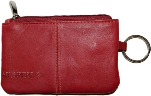 Change purse 2 pocket coin case w//key ring Coin case. Leather Zip coin wallet