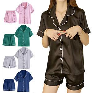 Pajamas-Womens-Satin-Silk-Sets-Short-Sleeve-Sleepwear-Homewear-Nightwear-Robe