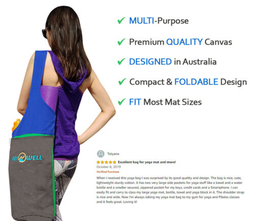 Pilates Yoga Portable Sling Yoga Mat Bag with Carry On Strap Zip pocket For Gym