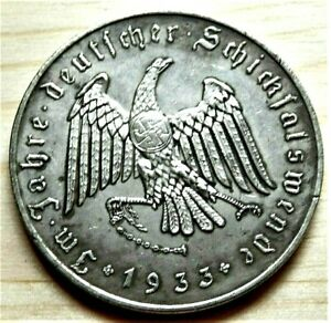WW2-GERMAN-COMMEMORATIVE-REICHSMARK-COLLECTORS-COIN-1933-AHITLER