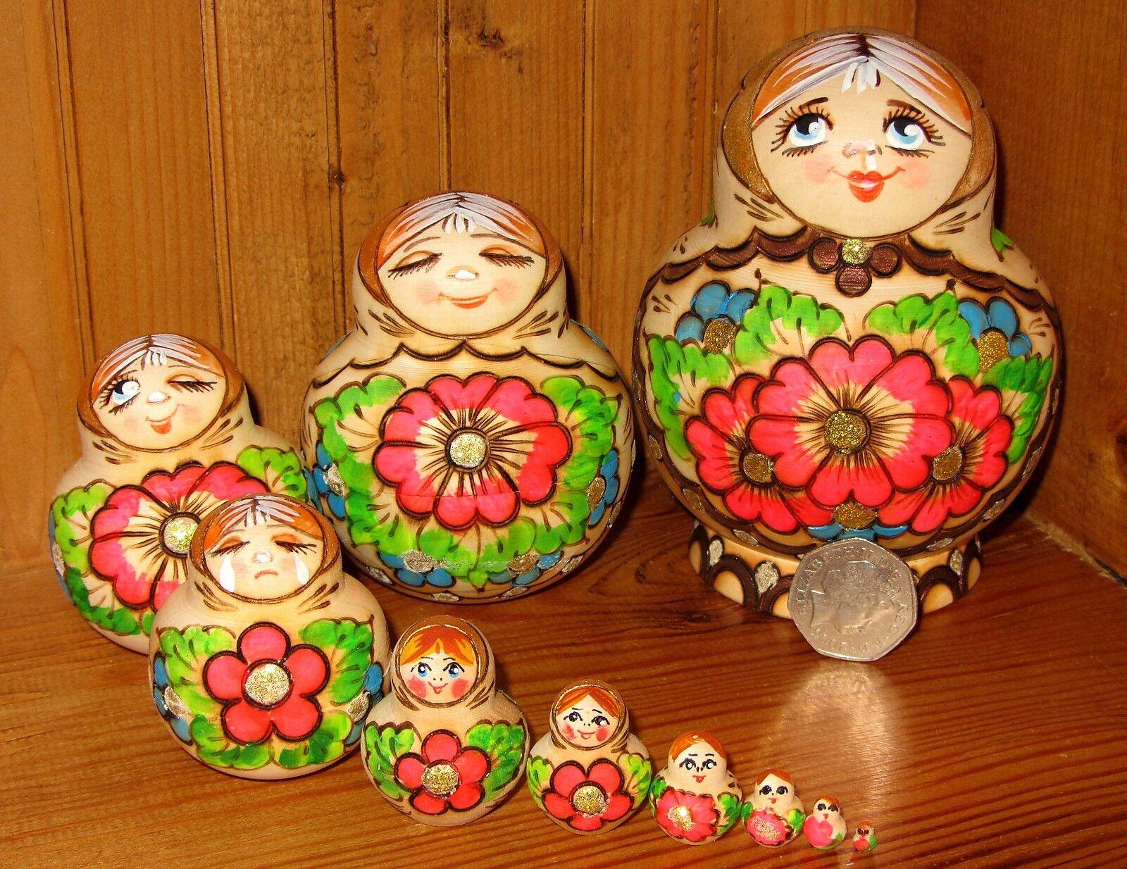 Russische Matroschka 10 Verschachtelte Brandmalerei Puppen Mimik Expressions