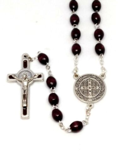 St Benedict Wooden Rosary St Benedict Cross Beautiful Brown Wooded Rosary
