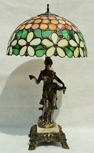 Antique-c1910-Art-Nouveau-Leaded-Slag-Glass-Figural-Woman-Spelter-Table-Lamp