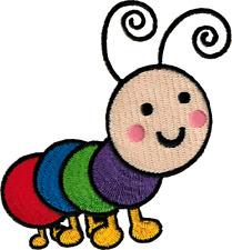 89056 Cute Rainbow Caterpillar Garden Legs Antenna Embroidered Sew Iron On Patch