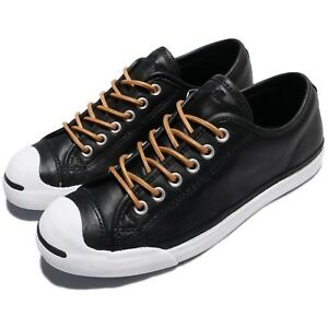 c149230baed251 Converse Jack Purcell LP L S Leather Black Brown White Men Shoes ...