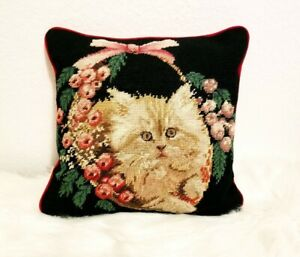 SALE-Vintage-Designer-Needlepoint-Pillow-Cat-Kitten-in-Basket-w-Roses-Cat-Gifts