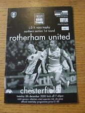 05/12/2000 Rotherham United v Chesterfield [LDV Vans Trophy]  (Item has no appar