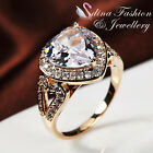 18K Yellow Gold Plated Simulated Diamonds Heart Shaped Engagement Ring Jewellery