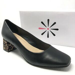 New-ISAAC-MIZRAHI-womens-Salena-pumps-black-leather-leopard-block-heels