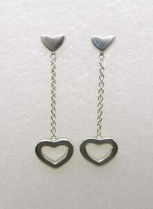 Image Is Loading Tiffany Amp Co Sterling Silver Heart Dangle Earrings