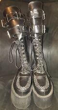 Demonia Black Platform Buckle Creeper Boots Size 10