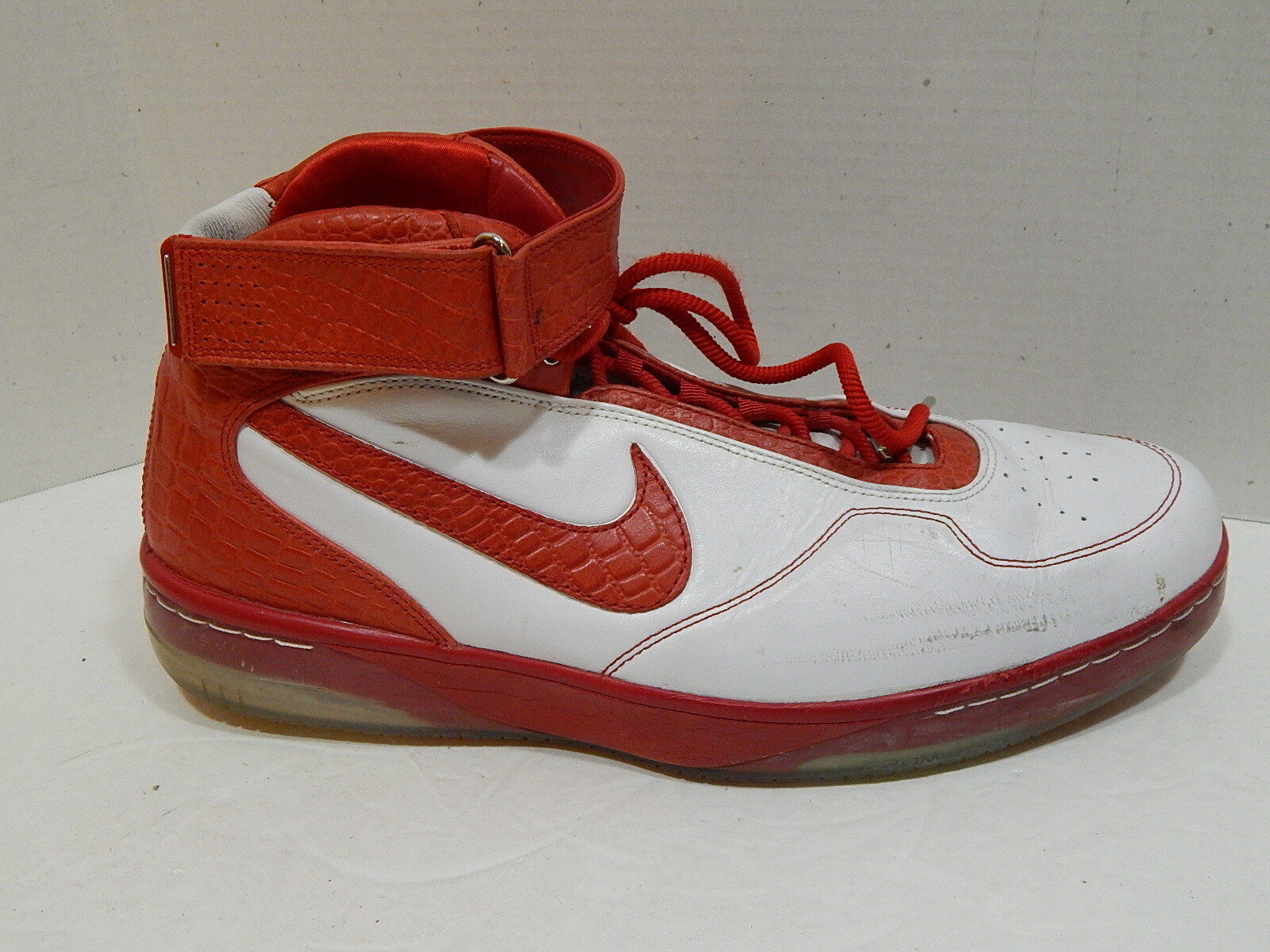 2007 Nike Air Force 25 Basketball shoes White Red 315015-166 Men's SIZE 16