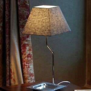 Contemporary Metal Table Lamp with Grey Linen Shade