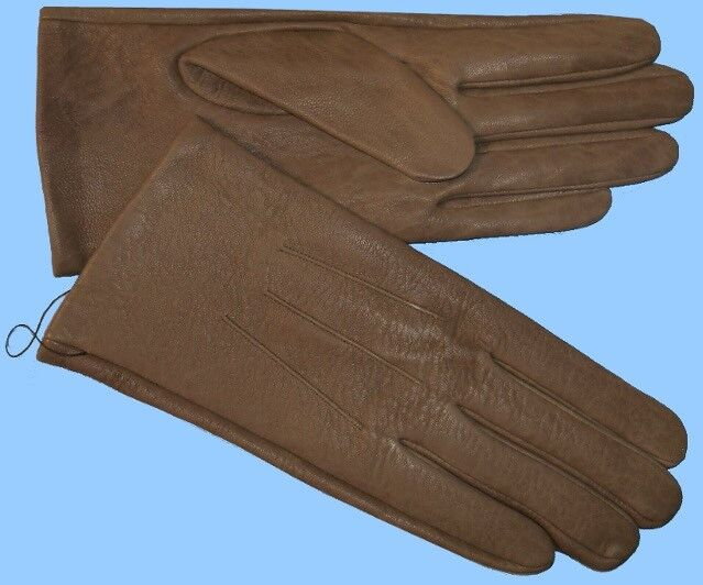 Well-Educated New Womens Size 7.5 Or L Genuine Khaki Cow Leather Unlined Gloves Shade10523 Top Watermelons