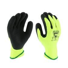 3 Pair Hi Vis Safety Winter Insulated Rubber Coated Work Gloves Sizes S 2xl