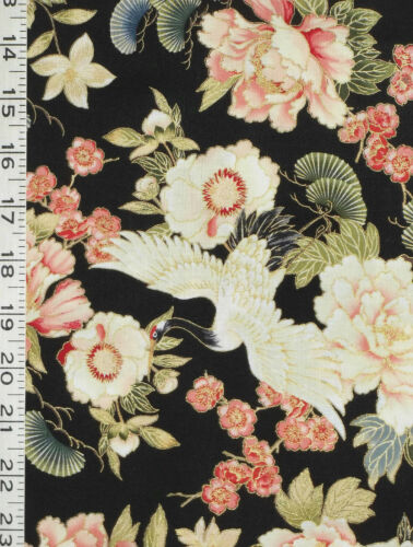 FQ RED ROOSTER METALLIC CRANES FLOWERS TADASHI BLK COTTON FAT QUARTER FABRIC