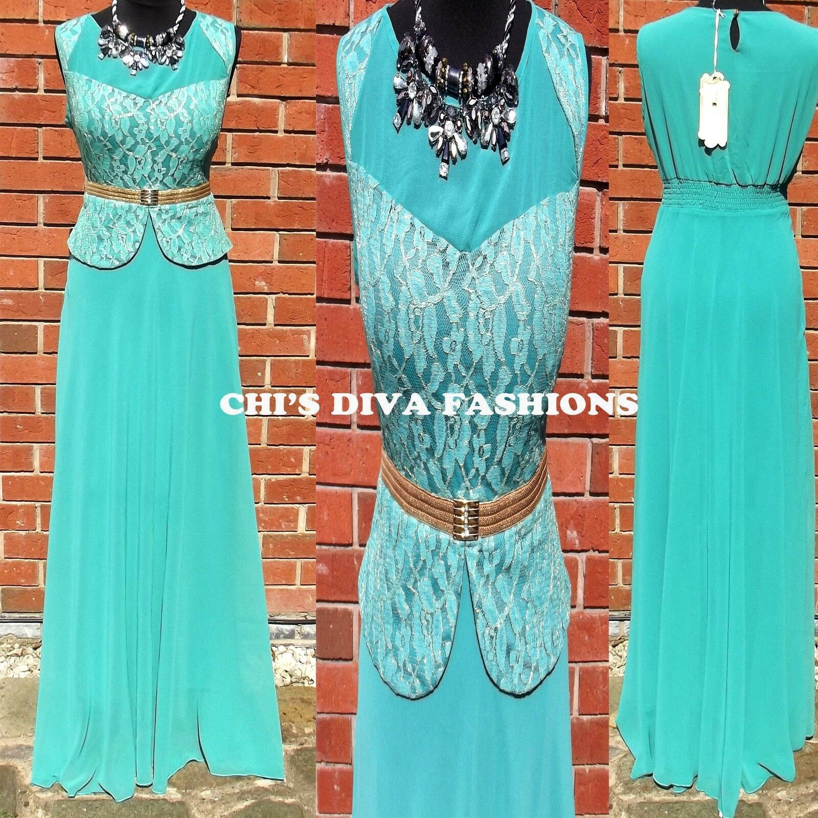 Beautiful Embroidered Lace Prom Maxi Dress Size  16 JADE GREEM  LENGHT 60