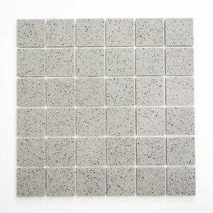 Mosaikmatte Mosaikfliesen Mosaik Quadrat Artificial Grau Glänzend - Mosaik fliesen grau glänzend