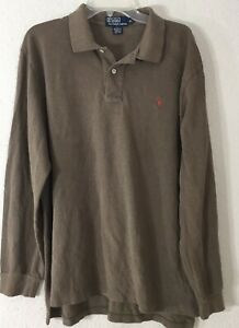 Polo-Ralph-Lauren-Men-039-s-Long-Sleeve-Polo-Shirt-Solid-Brown-Size-XL