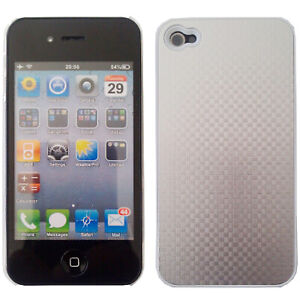 Case-For-Apple-iPhone-4-Hard-Back-Metal-Shockproof-Lightweight-Silver-Hash-Cover