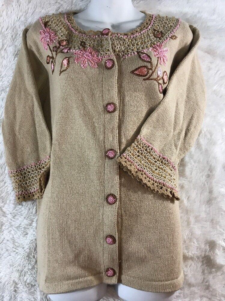 New Rare Rare Rare HSN Storybook Knits 3 4 Sleeve Sweater Cardigan Medium Flower pinks 2ff1d4