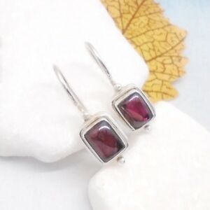 Granat-rot-red-eckig-Design-Ohrringe-Ohrhaenger-Haken-925-Sterling-Silber-neu