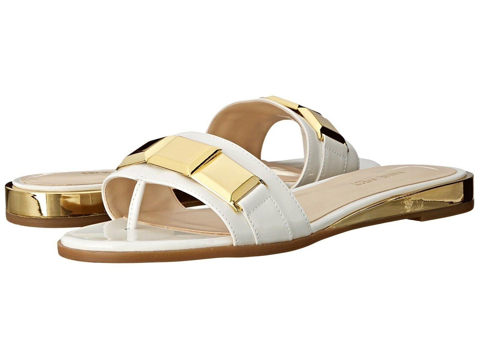 Nine West Xtina White Synthetic Sandals Women Size 6.5 M
