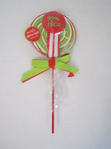 Mudpie Pacifier Clip Christmas Santa Baby 99/% Nice Red Green White Stripe Sucker