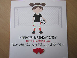 Personalised-Handmade-Girls-Football-Birthday-Card-7th-8th-9th-10th-Any-Age