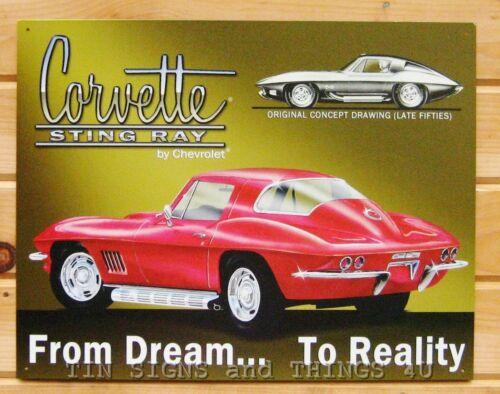 Stingray Corvette Dream to Reality TIN SIGN metal poster ad vtg garage decor 694