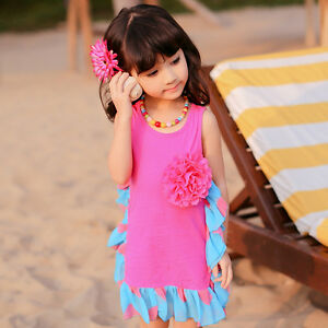 Enfant bébé fille sans manches été Princess Party Tutu Robes bain de soleil