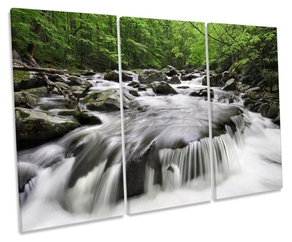 Waterfall Grün River Forest Picture TREBLE CANVAS wand kunst drucken