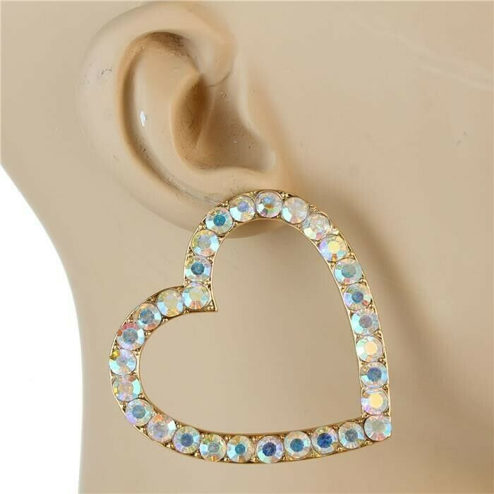 Gold Rhinestone Heart Shaped Fun Fashion 2 Inch Modern