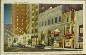 Washington-DC-1940s-Postcard-Mayflower-Hotel-amp-Harvey-039-s-Famous-Restaurant