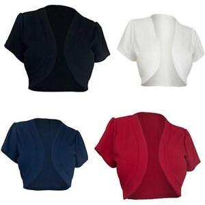 Ladies-Short-Sleeve-Bolero-Jacket-Womens-Shrug-Cardigan-Plus-Size-S-5XL-HOT-LG