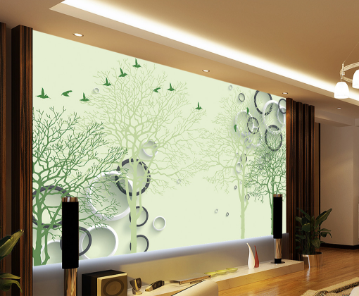 3D Grün Tree Branch Bird 8 Wallpaper Mural Paper Wall Print Wallpaper Murals UK