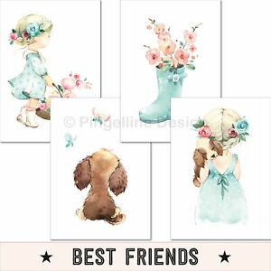 Kinderzimmer-Poster-Maedchen-Deko-Kinderbilder-Baby-Wandbilder-Bilder-rosa-mint